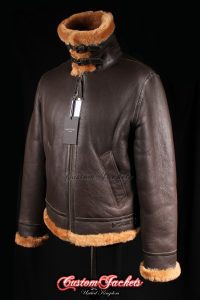 Men's AIR FORCE Brown & Ginger Fur Real Genuine British Sheepskin B3 RAF USAF WW2 Aviator Bomber Pilot Leather Jacket Coat
