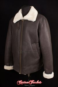 Men's LANCASTER Brown & Beige Fur Real Genuine British Sheepskin B3 RAF USAF WW2 Aviator Bomber Jacket Coat