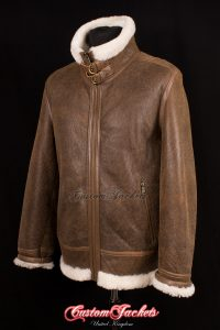 Men's WARHAWK Rust Tan Brown & White Long Fur Real Genuine British Sheepskin B3 RAF USAF WW2 Aviator Bomber Pilot Leather Jacket Coat