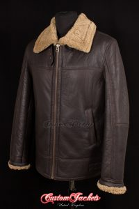 Men's DESTROYER Brown & Ginger Fur Real Genuine British Sheepskin World War 2 Aviator Bomber Fighter Pilot Leather Jacket Coat