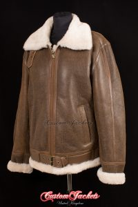 Men's SPITFIRE Rust Tan Brown & Beige Fur British Sheepskin War of Britain Aviator Bomber Fighter Pilot Leather Jacket Coat