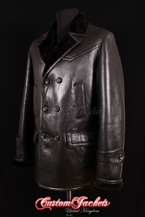 Men's KRIEGSMARINE Black Fur Genuine Real British Sheepskin Leather German Military Navy Jacket Pea Coat