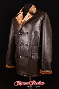 Men's KRIEGSMARINE Brown Fur Genuine Real British Sheepskin Leather German Military Navy Jacket Pea Coat