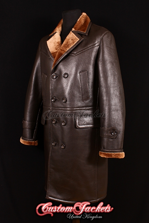 Men's U-BOAT KRIEGSMARINE Brown Fur British Sheepskin Leather Knee Length German Uboat Military Navy Jacket Pea Coat