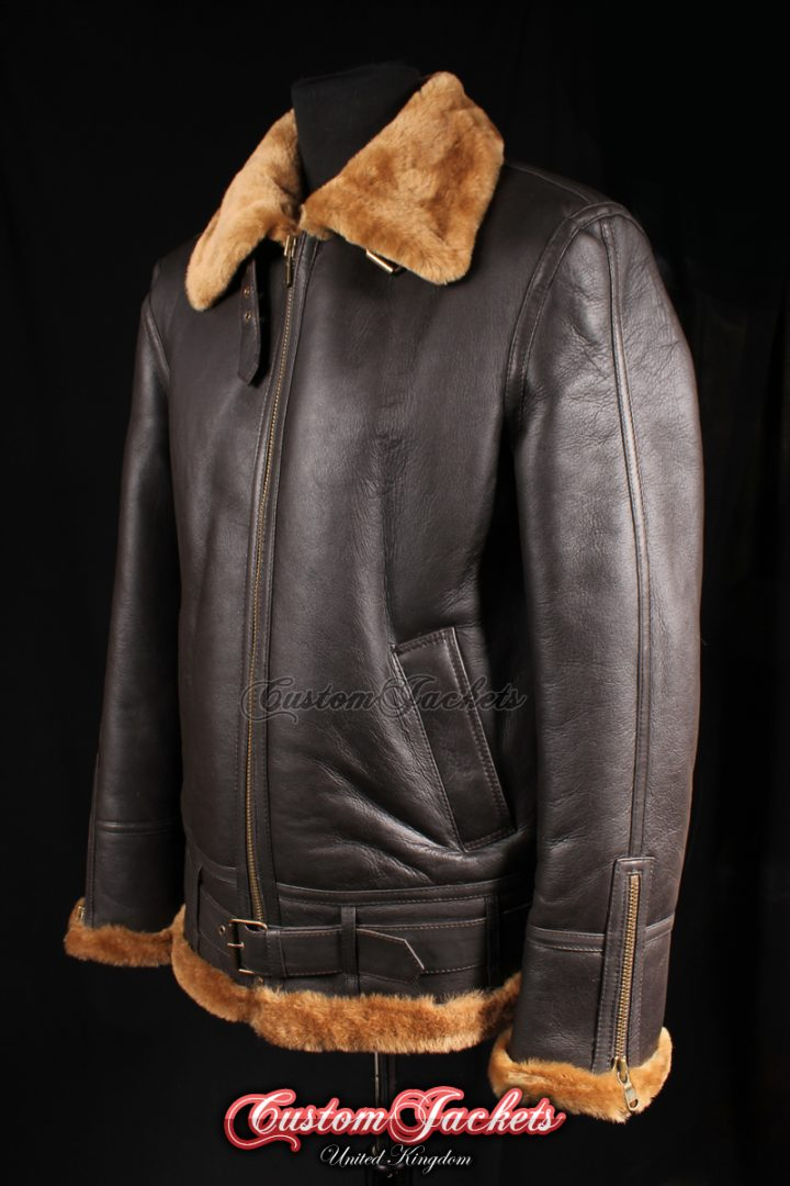 Men's SQUADRON Brown & Ginger Fur Real Genuine British Sheepskin B3 RAF USAF Aviator Bomber Jacket Coat