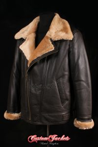 Men's NAVIGATOR Brown & Ginger Fur Real Genuine Sheepskin B3 RAF USAF Aviator Bomber Jacket Coat