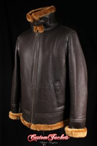 Men's PACIFIC COMMAND Brown & Whisky Fur Real Genuine British Sheepskin B3 RAF USAF WW2 Aviator Bomber Jacket Coat