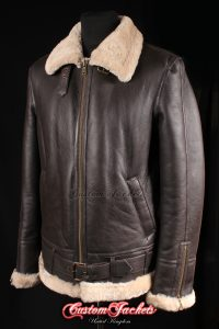 Men's SQUADRON Brown & Beige Fur Real Genuine British Sheepskin B3 RAF USAF Aviator Bomber Jacket Coat