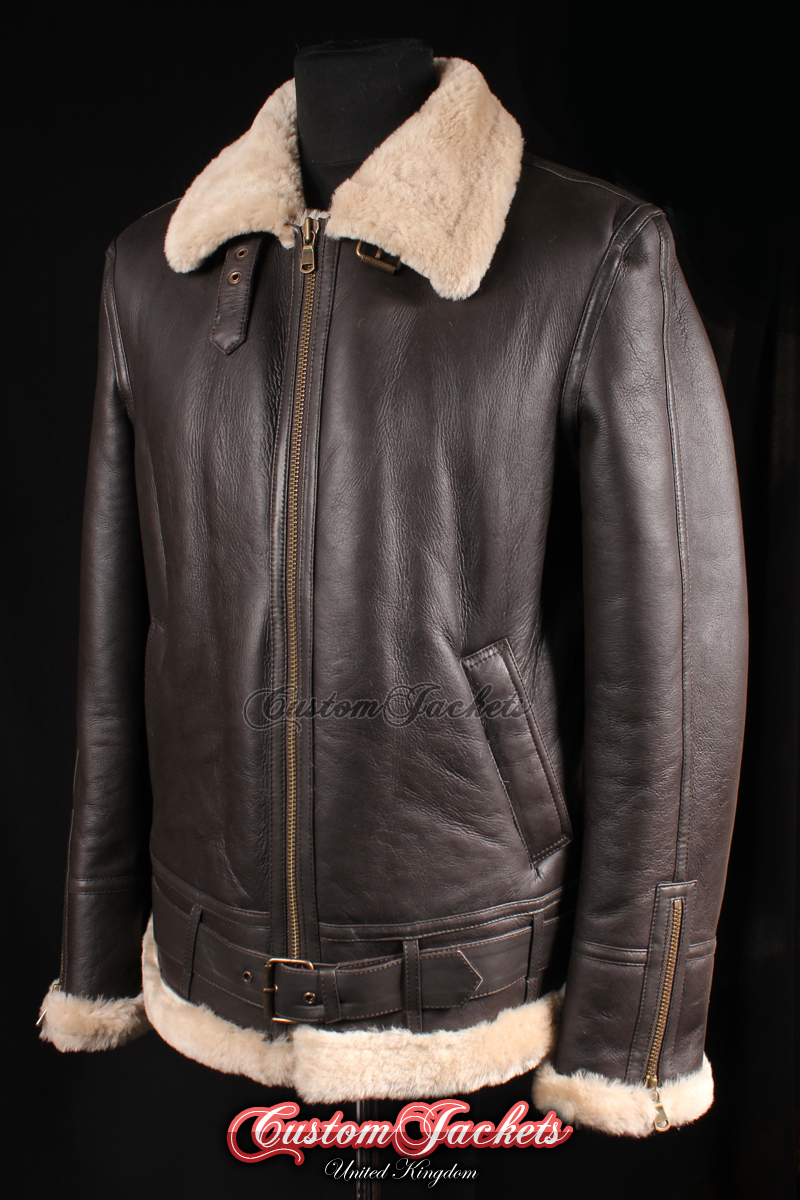 0adf300807b9 Men s SQUADRON Brown   Beige Fur Real Genuine British Sheepskin B3 RAF USAF  Aviator Bomber Jacket Coat