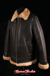 Men's PACIFIC COMMAND Brown & Ginger Fur Real Genuine British Sheepskin B3 RAF USAF WW2 Aviator Bomber Jacket Coat