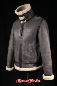 Men's AIR FORCE Black Washed & Beige Fur Real Genuine British Sheepskin B3 RAF USAF WW2 Aviator Bomber Pilot Jacket Coat