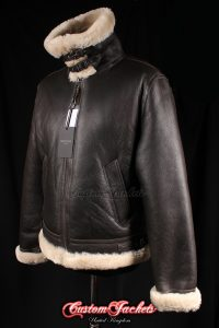 Men's AIR FORCE Brown & Beige Fur Real Genuine British Sheepskin B3 RAF USAF WW2 Aviator Bomber Pilot Leather Jacket Coat