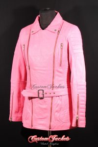 Ladies SCARLETT Baby Pink Genuine Soft Quilted Nappa Lambskin Leather Designer Motorcycle Biker Style Jacket
