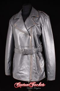 Ladies CHRISTINA Grey Lambskin Real Leather Designer Belt Hip Length Motorcycle Biker Style Jacket