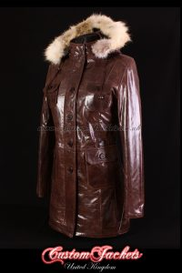 Ladies MOSCOW Brown Glazed Lambskin Leather Classic Fur Hooded Hip Length Winter Jacket Coat