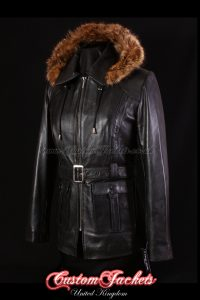 Ladies GLACIER Black Lambskin Leather Classic Fur Hooded Hip Length Warm Jacket Coat
