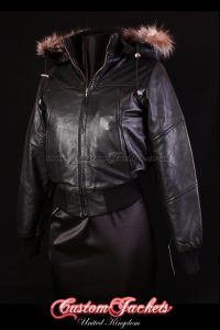Ladies SOVIET Black Lambskin Leather Fur Hooded Short Fitted Bomber Jacket