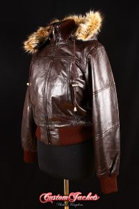 Ladies SOVIET Brown Lambskin Leather Fur Hooded Short Fitted Bomber Jacket