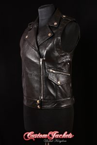 Ladies SCALA Black Lambskin Motorcycle Biker Style Real Genuine Leather Waistcoat Vest