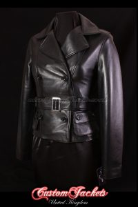 Ladies VENICE SHORT TRENCH Black Lambskin Real Leather Classic Double Breasted Waist Length Coat Jacket