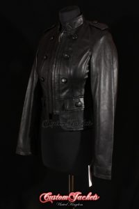 Ladies RACHEL SHORT MILITARY Black Lambskin Real Leather Womens Classic Waist Length Jacket