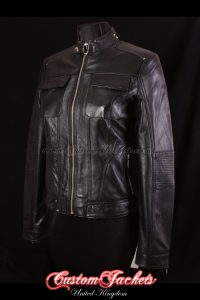 Ladies WILDCHILD Black Genuine Lambskin Leather Motorcycle Cool Biker Short Bomber Jacket