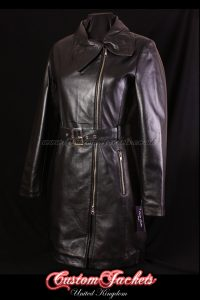 Ladies VIENNA Black Lambskin Leather Large Collar Elegant Smart Womens Jacket Coat