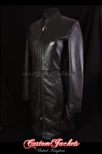Ladies VICTORIA Black Lambskin Leather Simple Knee-Length Sleek Elegant Womens Jacket Coat