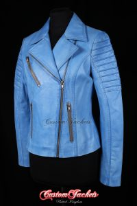 Ladies FURIOUS Denim Light Blue Washed Lambskin Leather Fitted Motorcycle Cool Biker Style Jacket