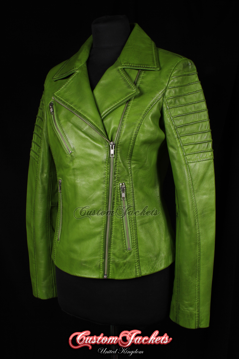 abf03d091232 Ladies FURIOUS Lime Green Washed Lambskin Real Leather Short Fitted Motorcycle  Womens Cool Biker Style Jacket - CUSTOMJACKETS™