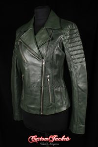 Ladies FURIOUS Dark Green Washed Lambskin Real Leather Short Fitted Motorcycle Womens Cool Biker Style Jacket