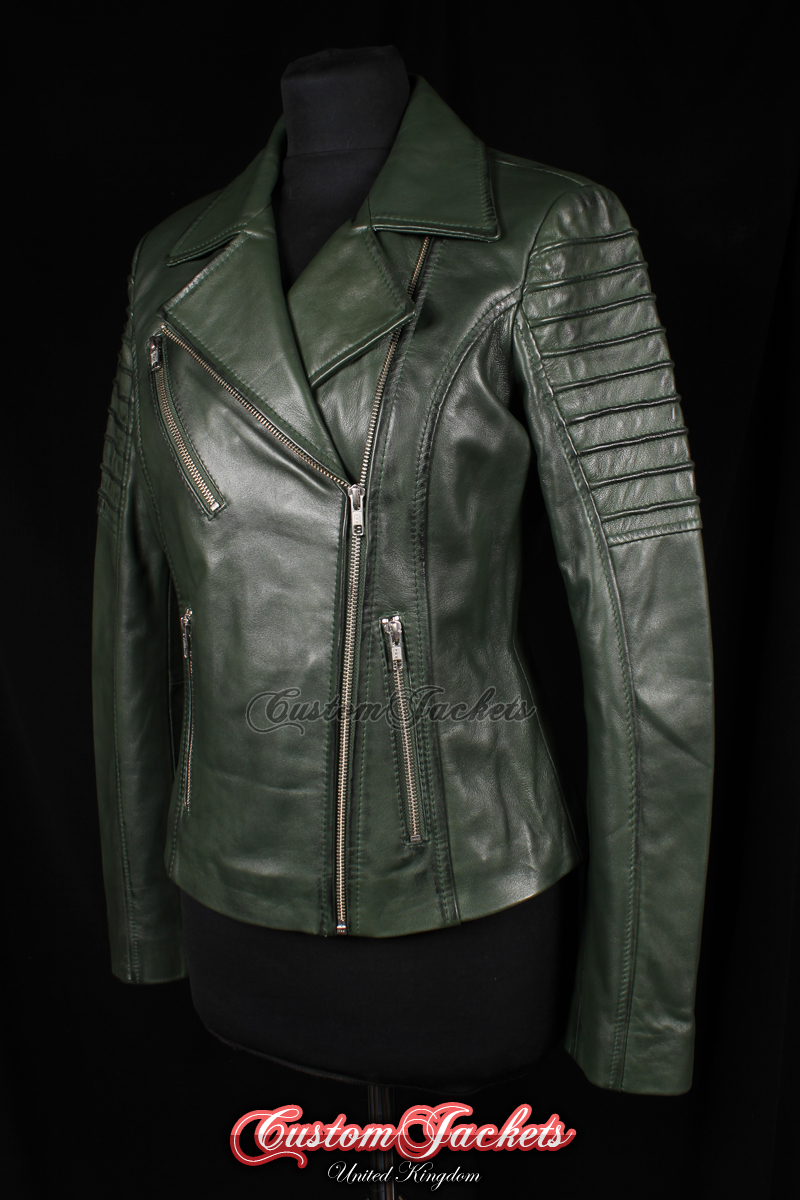 9dece0d405da Ladies FURIOUS Dark Green Washed Lambskin Real Leather Short Fitted Motorcycle  Womens Cool Biker Style Jacket - CUSTOMJACKETS™