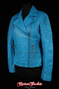 Ladies FURIOUS Blue Washed Lambskin Real Leather Short Fitted Motorcycle Womens Cool Biker Style Jacket