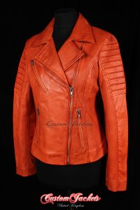 Ladies FURIOUS Orange Washed Lambskin Real Leather Short Fitted Motorcycle Womens Cool Biker Style Jacket