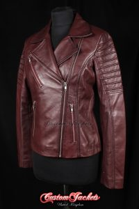 Ladies FURIOUS Burgundy Red Washed Lambskin Real Leather Short Fitted Motorcycle Womens Cool Biker Style Jacket