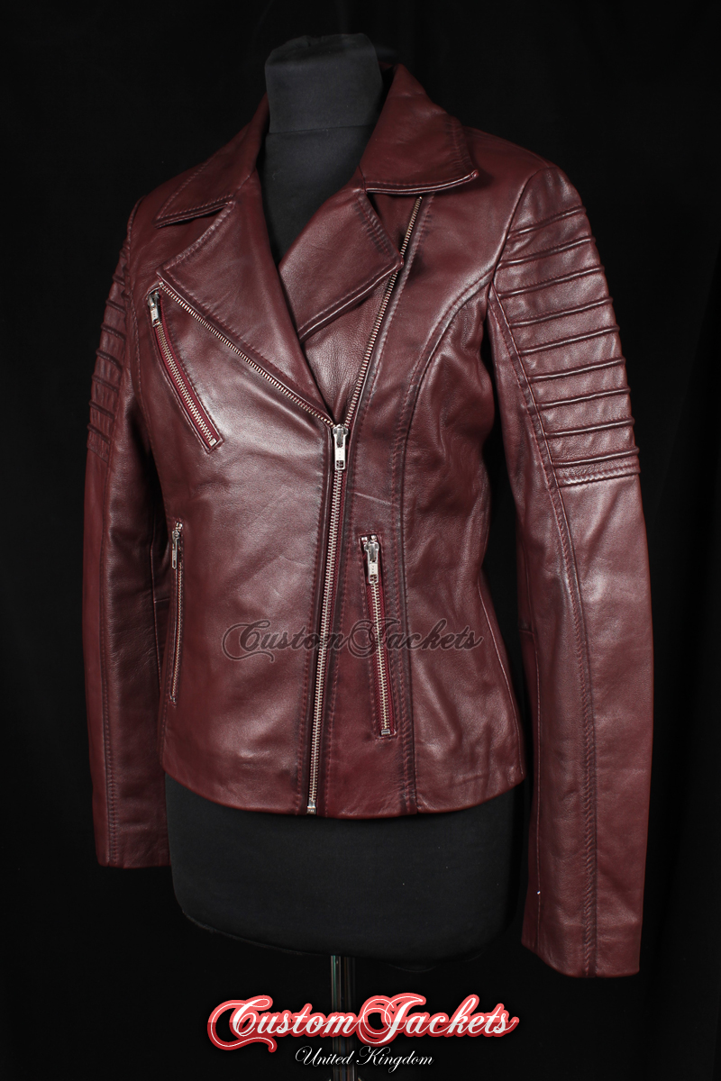 f14eab21 Ladies FURIOUS Burgundy Red Washed Lambskin Real Leather Short Fitted  Motorcycle Womens Cool Biker Style Jacket