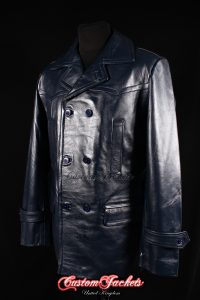 Men's KRIEGSMARINE Navy Blue Cowhide Leather WW2 German Military U-Boat Pea Coat Jacket