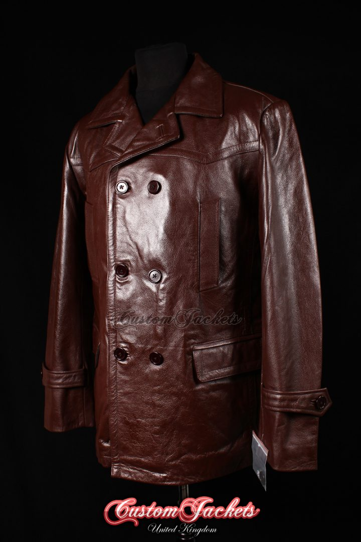 Men's KRIEGSMARINE Burgundy Red Cowhide Leather WW2 German Military U-Boat Pea Coat Jacket