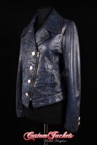 Ladies EUPHORIA Antique Blue Genuine Lambskin Leather Designer Jacket