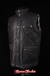 Men's SHOOTER Black Waxed Cowhide Skipper Leather Quilted Puffer Leather Hunting Waistcoat Vest