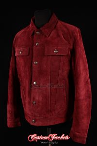 Men's TRUCKER Burgundy Dark Red Suede Cowhide Western Cowboy Style Leather Jacket