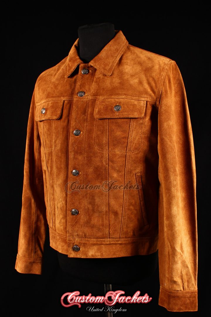 Men's TRUCKER Tan Suede Cowhide Western Cowboy Style Leather Jacket