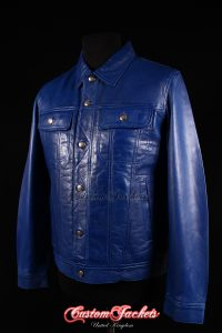 Men's TRUCKER Blue Lambskin Western Cowboy Style Real Genuine Leather Jacket