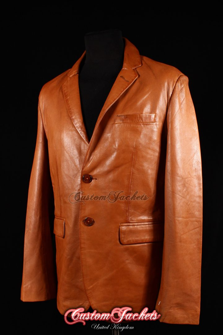 Men's MILANO Tan Washed Lambskin 2 Button Soft Real Leather Fitted Blazer Jacket