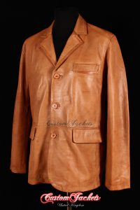 Men's OXFORD Tan Washed Lambskin 3 Button Soft Real Leather Casual Blazer Jacket