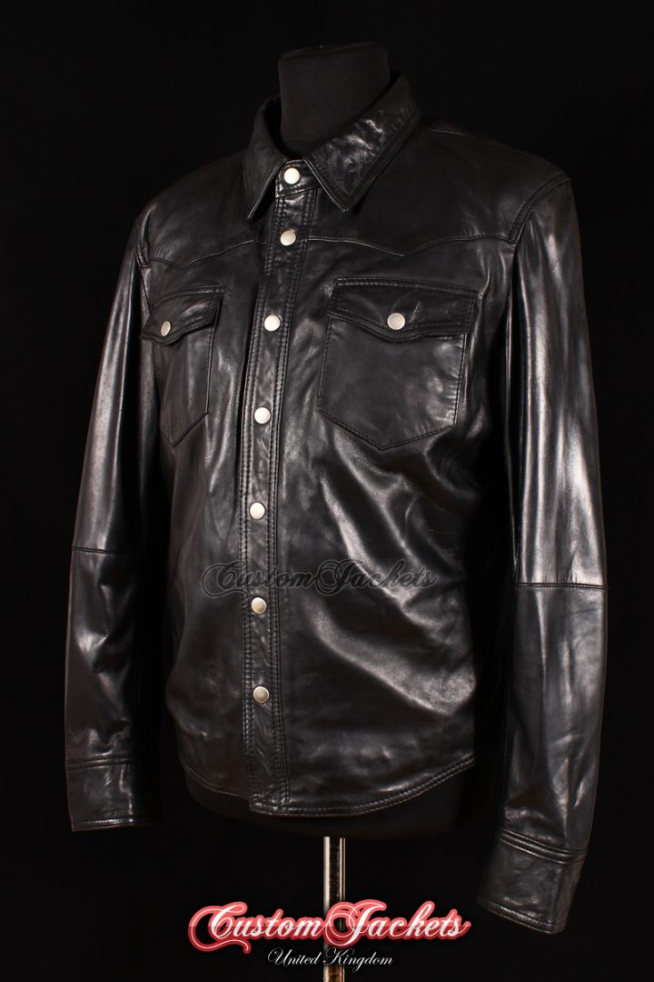 Men's WEST Black Lambskin Biker Police Trucker Western Cowboy Real Leather Shirt