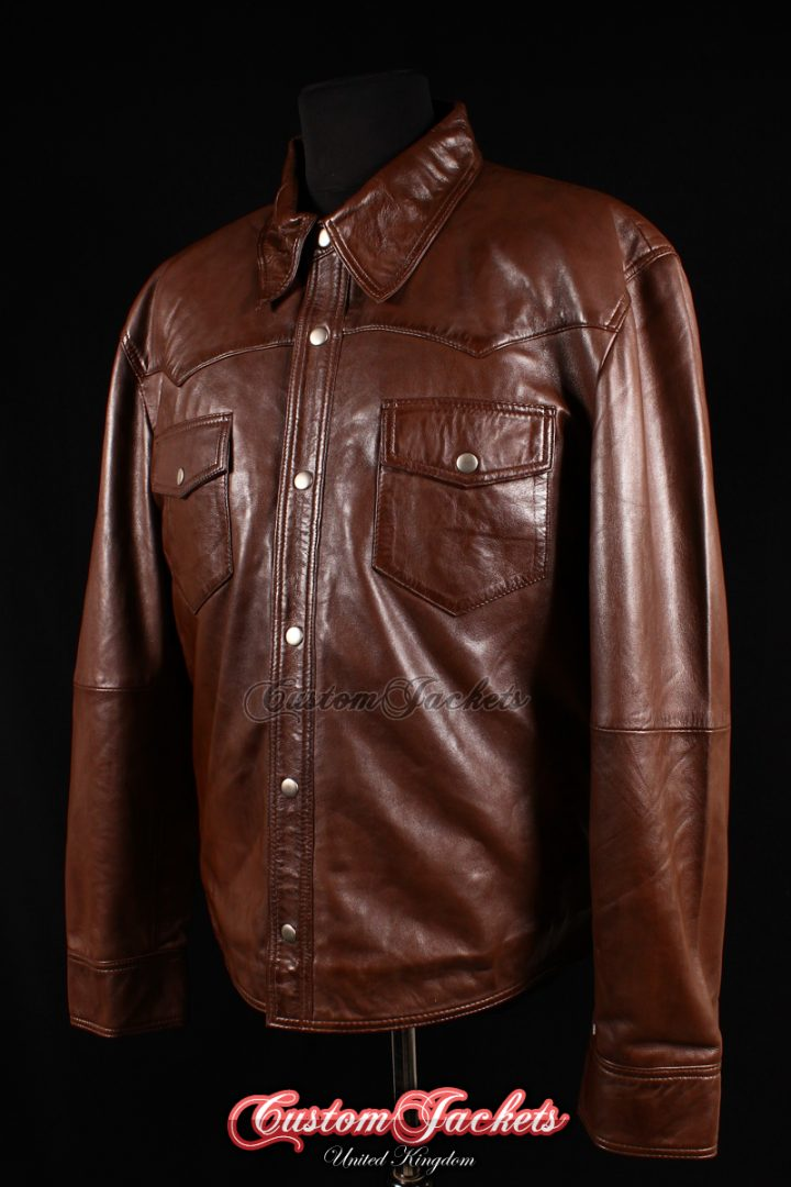 Men's WEST Brown Washed Lambskin Biker Police Trucker Western Cowboy Real Leather Shirt