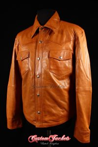 Men's WEST Tan Washed Lambskin Biker Police Trucker Western Cowboy Real Leather Shirt