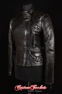 Ladies SPEEDSTER Black Genuine Soft Lambskin Leather Motorcycle Motorbike Biker Jacket