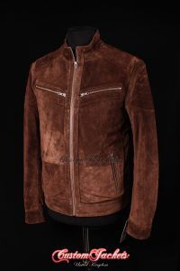 Men's STRIDER Brown Suede Cowhide Cool Biker Style Leather Jacket